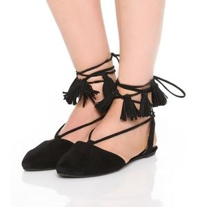 NEW Jeffrey Campbell Amour Black Tassel Flats